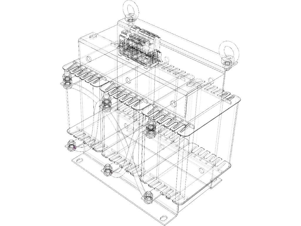 3D CAD 3-Phasen Trafo Gitternetz