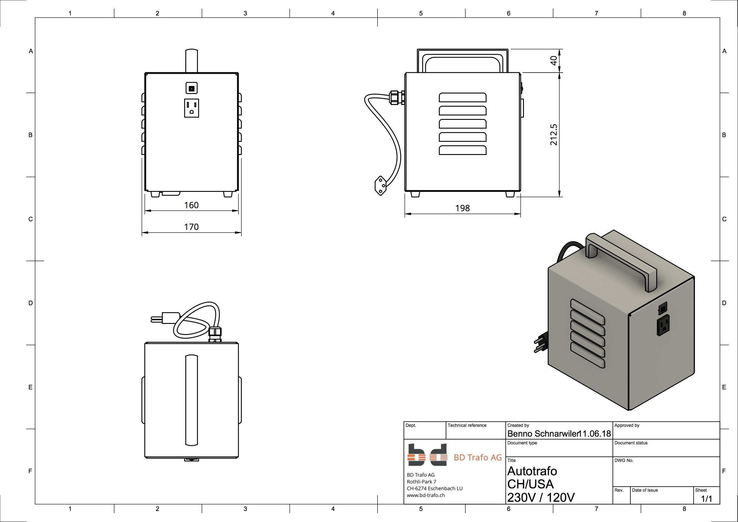 CAD Konstruktionszeichnung Gehäuse