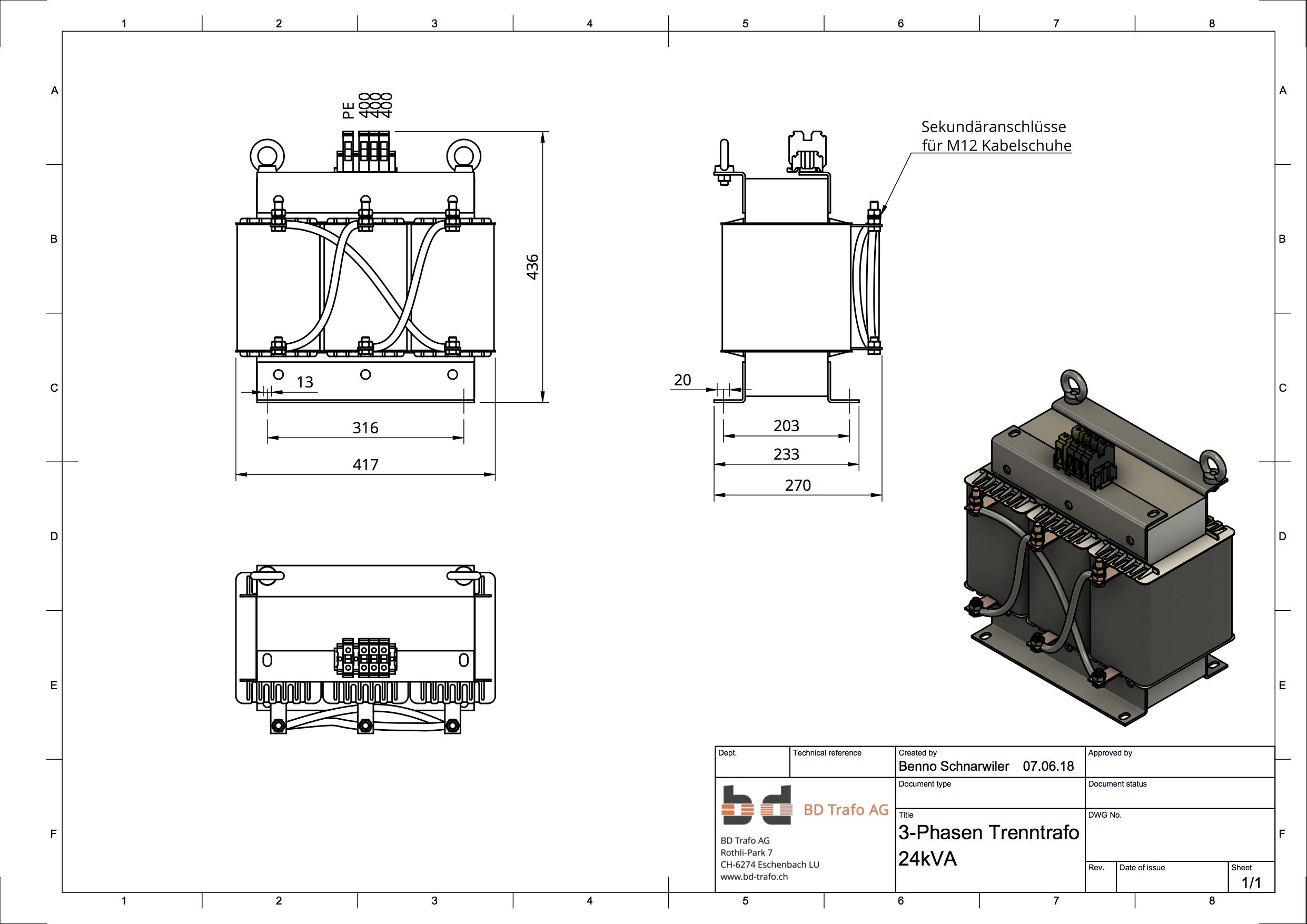 CAD Konstruktionszeichnung 3-Phasen Trafo